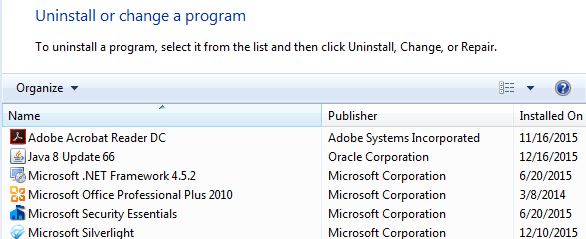 Cannot remove program from control panel windows 7